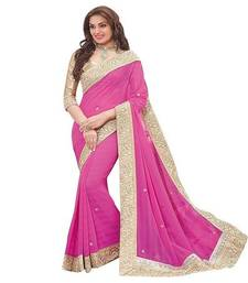 Buy Pink plain chiffon saree with blouse chiffon-saree online