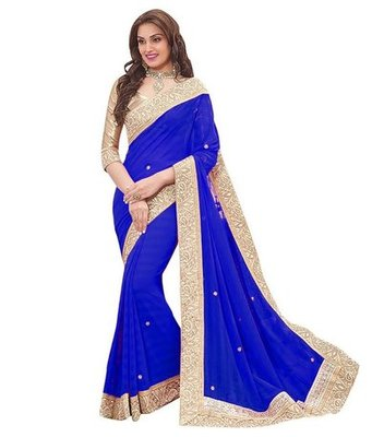 Blue plain chiffon saree with blouse