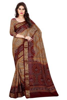 Bandhani Saree(Chiku hand woven jacquard saree With Blouse)