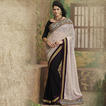 Black and OffWhite Designer Party wear Saree