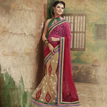 Beige and Shaded Pallu Designer Party wear Saree