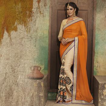 Beige and Orange Designer Party wear Saree