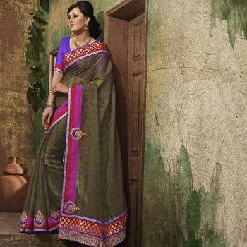 Green Designer Party wear Saree
