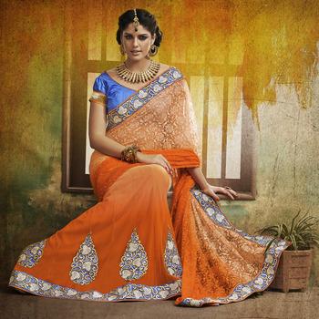 Orange and Beige Designer Party wear Saree