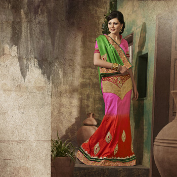 Red and Pink Designer Party wear Saree