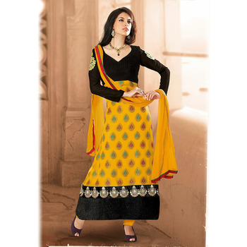 Mustard and Black color Chanderi Cotton Suit
