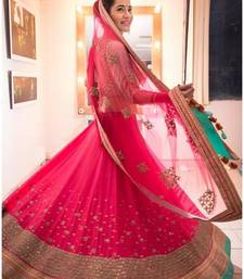 Buy Pink Georgette Embroidered unstitched Lehenga with Blouse lehenga-below-2000 online