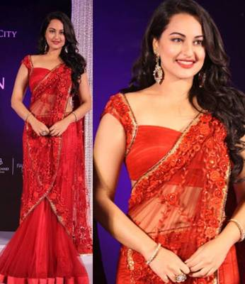 Sonakshi Sinha Net Sequins work Bollywood Style Saree