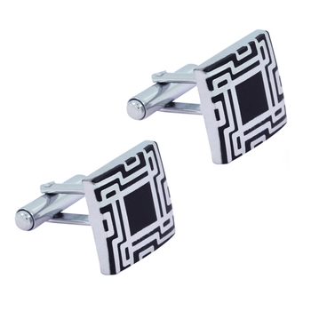 Glossy Rhodium Plated Square Black Cufflink Pair For Men