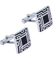 Buy Glossy Rhodium Plated Square Black Cufflink Pair For Men cufflink online