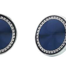 Buy Designer Glossy Rhodium Gold Plated Round Blue Cufflink Pair For Men cufflink online