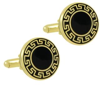 Designer Glossy Gold Plated Round Black Cufflink Pair For Men