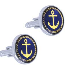 Anchor Glossy Rhodium Plated Round Blue Gold Cufflink Pair For Men