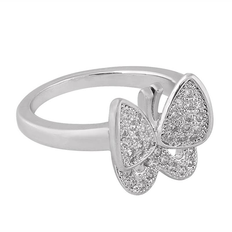 Butterfly Wing Silver Ring With Cubic Zirconia