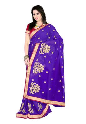 Fabdeal Purple Colored Chiffon Embroidered Saree