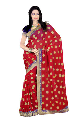 Fabdeal Red Colored Chiffon Embroidered Saree