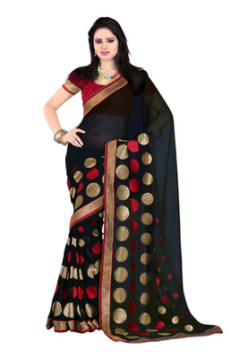 Fabdeal Black Colored Chiffon Embroidered Saree