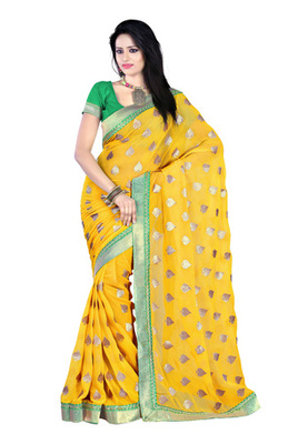 Fabdeal Yellow Colored Chiffon Embroidered Saree