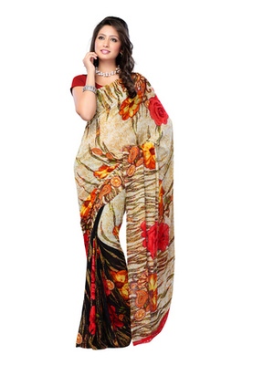 Fabdeal Beige Colored Pure Georgette Printed Saree