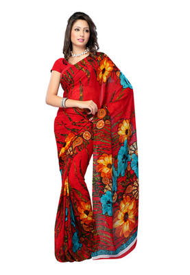 Fabdeal Red Colored Pure Georgette Printed Saree