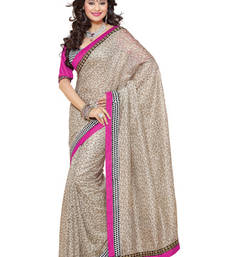 Buy Fabdeal Beige Colored Jute Digital Print Saree jute-saree online