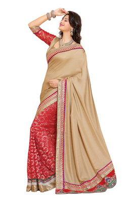 Fabdeal Beige Colored Satin Embroidered Saree
