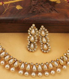 Buy BEAUTIFUL ANTIQUE (DULL GOLD FINISH)PEARL NECKLACE SET - DJ05148 south-indian-jewellery online