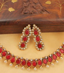 BEAUTIFUL ANTIQUE (DULL GOLD FINISH)RED NECKLACE SET - Dj05152