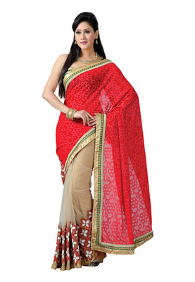 Fabdeal Red Colored Jacquard Embroidered Saree
