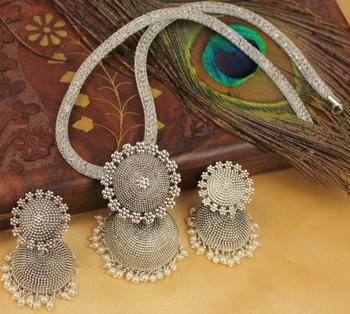 Lovely Oxidized Silver Jhumkka Pendant Necklace Set