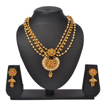 Multi Layered Pearl & Stone work Antique Gold Necklace Jewellery Set for Women