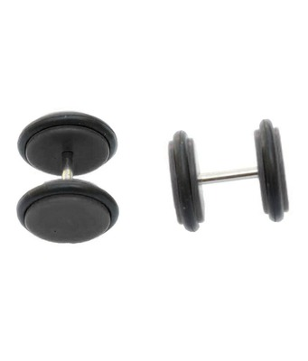 Biker Black Silicon Pair Pierced Stud Earring for Men