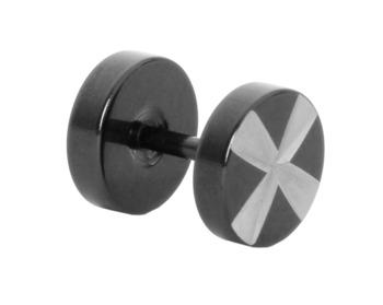 Barbell Dumbell Black Silver Round Stainless Steel Single Pierced Stud Earring for Men