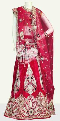 Pretty pink beautiful design heavy work velvet wedding lehenga