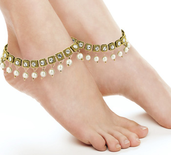 Antique Traditional Pearl Square Drop Cz Look Pair Of Anklet  Pair 29Cm For Women