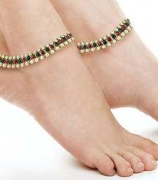 Antique Traditional Pearl Multi Colour Look Payal Anklet Pair 21.5Cm For Women
