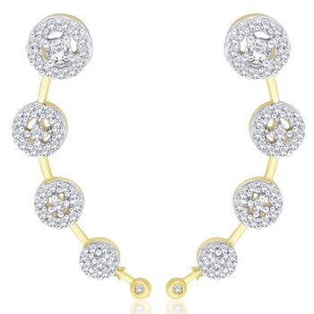 American Diamond Gold Plated Round Cluster Ear Cuff Pair