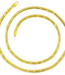 """Italian Designer Smooth Surgical Stainless Steel Gold Plated 23.5"""" Chain For Men"""