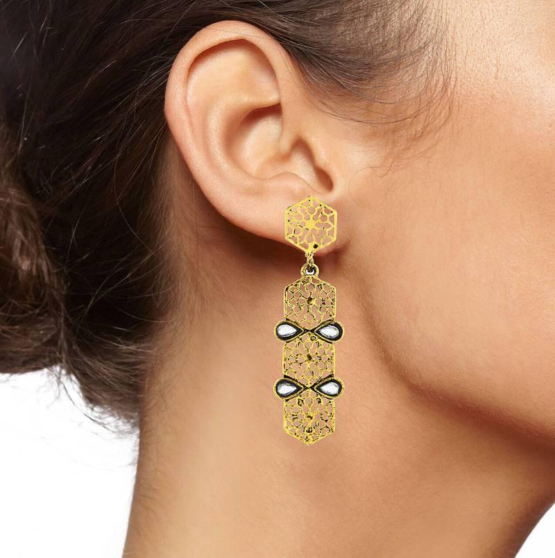 Italian Kundan 14k Gold Plated Dangling Earring For Women