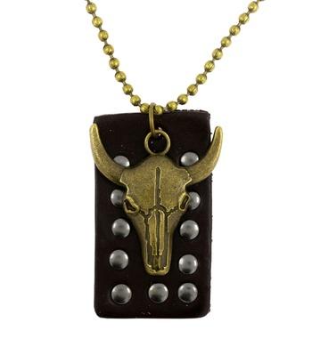 Hip Hop Bull Head Bronze Vintage Antique Finish Dog Tag Pendant Leather Chain