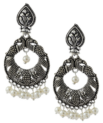 3607237cd Oxidized Antique German Silver Light Weight Pearl Chandelier Earring For  Women - the jewelbox - 1471213