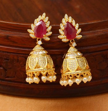 Gorgeous High Gold  Red  Designer  Earrings