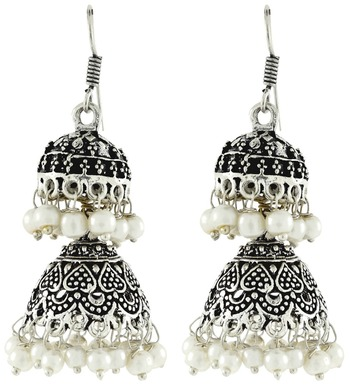 6be3b66f7 Double Jhumka Antique Oxidized German Silver Pearl Jhumki Earring For Women  - the jewelbox - 1471311