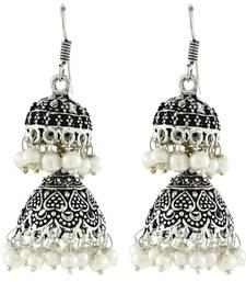 Double Jhumka Antique Oxidized German Silver Pearl Jhumki Earring For Women