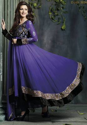 Sonali bendre purple color designer embroidered anarkali suit