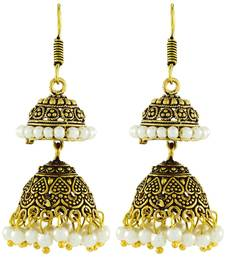 Antique Oxidized Gold Plated Pearl Double Jhumki Earring For Women