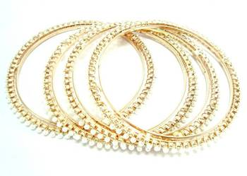 faux pearl cz 4pc gold plated bangle me2048