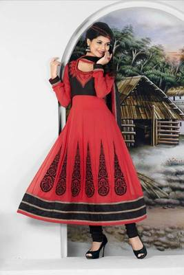 red color embroidered salwar suit