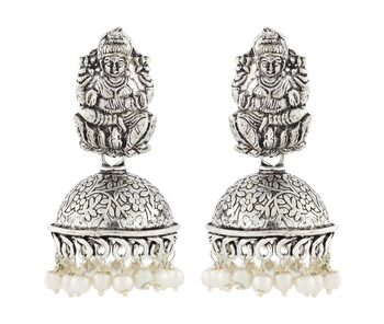 Temple Lakshmi Antique Oxidized German Silver Pearl Floral Jhumki Earring For Women