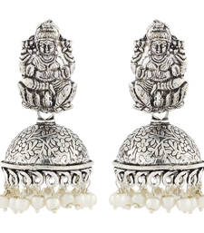 Temple Lakshmi Antique Oxidized German Silver Pearl Floral Jhumki Earring For Women